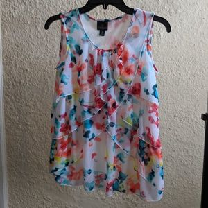 MOVING SALE Floral Blouse with Ruffles